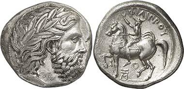 Tetradrachme Philipps II. mit der Darstellung des Königs, eine Ansprache vor der Heeresversammlung haltend, geprägt in Pella ca. 359-355/4. Aus Auktion Nomos 2 (2010), 55.