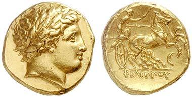 Goldstater Philipps II., geprägt nach seinem Tod 336-328 in Amphipolis. Aus Auktion Lanz 148 (2010), 22.