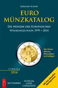 Gerhard Schön, Euro-Münzkatalog. Die Münzen der Europäischen Währungsunion 1999-2014. 13. Auflage, Battenberg-Gietl-Verlag, Regenstauf, 2014. ca. 1200 Seiten, 12,5 x 19 cm, Broschur. ISBN 978-3-86646-105-5. 14,90 Euro.