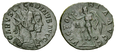 56: Carus (AD 282-283) with Carinus. Antoninianus, Lugdunum (Lyon). RIC V, 143. Good very fine. Estimated: CHF 2,000.