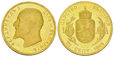 90: Bulgaria, Tsardom. Ferdinand I. 100 Leva, Sofia mint. Dually dated 22 September 1908 and 1912. KM 34. About uncirculated. Estimated: CHF 2,500.