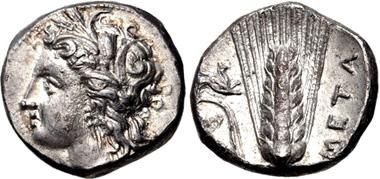 27: LUCANIA, Metapontion. Circa 330-290 BC. Nomos. HN Italy 1589. Good VF. Estimate: $500.