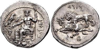 212: CILICIA, Tarsos. Mazaios. Satrap of Cilicia, 361/0-334 BC. Stater. SNG Levante 106. EF. Estimate: $750.