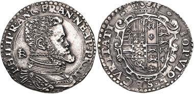 720: ITALY, Napoli (Regno). Filippo II di Spagna. Mezzo Ducato, Napoli (Naples) mint, 1554-1556. Giovan Battista Ravaschieri, mintmaster. Pannuti-Riccio 5 (same). Good VF. Estimate: $200.