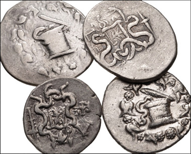 747: GREEK. Asia Minor. Lot of four (4) AR Cistophoric Tetradrachms of Ephesos. All coins: Cista mystica with serpent; all within ivy wreath / Two serpents entwined around bow and bowcase. Includes: Year 2 (133/2 BC). Kleiner 2 // Year 3 (132/1 BC). Kleiner 4 // Year 30 (105/4 BC). Kleiner 34 // Year 35 (99/8 BC). Kleiner 39. Fine to VF. LOT SOLD AS IS, NO RETURNS. Four (4) coins in lot. Estimate: $500.