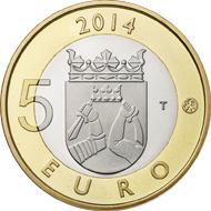 Finland / 5 euros / 9.8 g / 27.25 mm / Designer: Nora Tapper (reverse), Erkki Vainio (obverse) / Mintage: 10 000 (proof), 35 000 (unc).