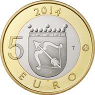 Finland / 5 euros / 9.8 g / 27.25 mm / Designer: Nora Tapper (reverse), Erkki Vainio (obverse) / Mintage: 10,000 (proof), 35,000 (unc).