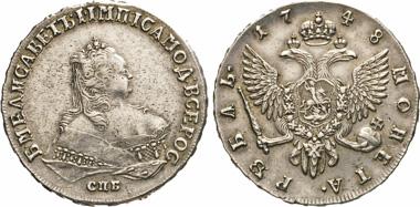Los 437: Elisabeth, 1741-1762. Rubel 1748, St. Petersburg.