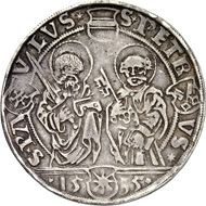 Münster. Franz von Waldeck, 1532-1553. 1/2 thaler 1535, Münster. Ilisch XXX. 4. From auction sale Künker 249 (1 July 2014), 1716. The extremely rare piece is estimated at 10,000 euros.