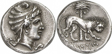 Siculo-Punic coin. Tetradrachm, 320-310. From Gorny & Mosch auction sale 185 (2010), 54. - Some numismatists claim to see Venus Ericina in the head on the obverse, or, as the Carthaginians called her, Astarte-Tinit.