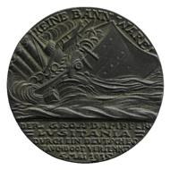 Bronze Lusitania medal, by Karl Goetz (1916,0707.9), obverse.