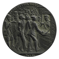 Bronze Lusitania medal, by Karl Goetz (1916,0707.9), reverse.
