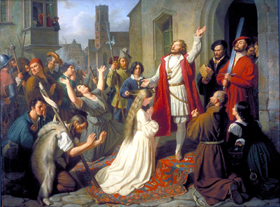 Johann Karl Ulrich Bähr, Jan van Leiden baptising a girl during the Münster Rebellion, 1840. Source: Wikicommons.