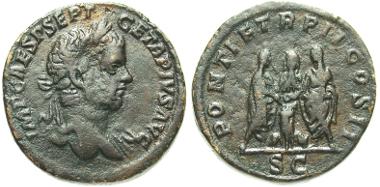 107: Geta. Sestertius, Rome mint, A.D. 210. RIC 156a. aVF. Estimate: $500.