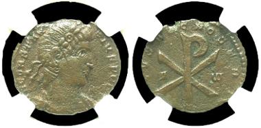 149: Constantius II. Centenionalis, Trier mint, A.D. 353. RIC 332. VF. Estimate: $275.
