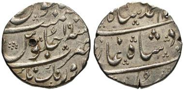 190: INDIA, Mughal Empire. Nasir al-Din Muhammad Shah. 1131-1161 / 1719-1748. Rupee, Aurangnagar mint, year 19. KM 436.9. Bold mint name, 2 test marks. EF. Estimate: $200.