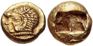 36: IONIA, Erythrai. EL Hekte / Sixth Stater, circa 550-500 BC. Boston MFA 1806-7. EF. Estimate $1500.