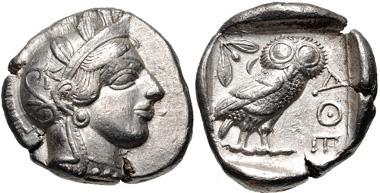 79: ATTICA, Athens. Tetradrachm, circa 454-404 BC. SNG Copenhagen 31. Good VF. Estimate: $500.