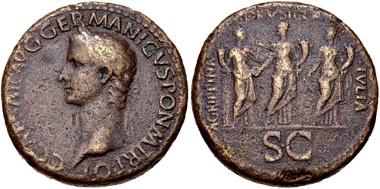 377: Gaius (Caligula). Sestertius, Rome mint, AD 37-38. RIC I 33. Near VF. Estimate: $1,000.