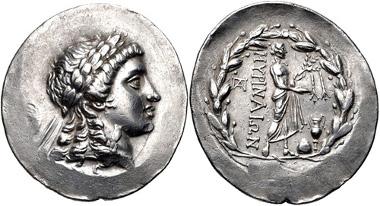 136: AEOLIS, Myrina. Tetradrachm, circa 160-143 BC. SNG Copenhagen 223. Good VF. Estimate: $500.
