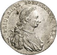 Frederick II of Prussia. Levantethaler 1766, Berlin or Magdeburg. Old. 371. Kluge 320. From auction sale Künker 250 (2nd July 2014), 2755. Estimate: 2,000 euros.