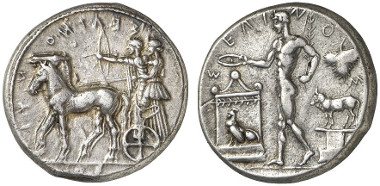Selinus. Tetradrachm, 466-450. Artemis and Apollon on Biga. Rv. River god making an offering at the altar. From Gorny & Mosch auction sale 219 (2014), 53.