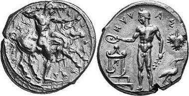 Selinus. Stater, around 450. Young Heracles taming the Cretan Bull. Rv. River god Hypsas making an offering. From Gorny & Mosch auction sale 125 (2003), 53.