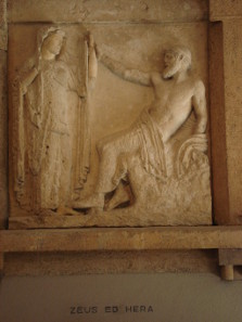 Metope of Temple E depicting Zeus and Hera. Photo: G. Dall'Orto / Wikipedia. CC BY-SA 2.5.