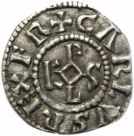 Charlemagne (768-814). Silver denier, minted at Bourges. © The Fitzwilliam Museum, Cambridge.