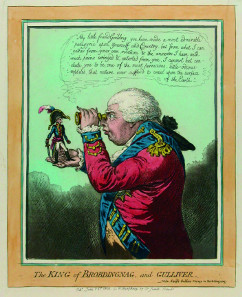 James Gillray (1756-1815): The King of Brobdingnag, and Gulliver, kolorierte Radierung, 1803. Wilhelm-Busch-Museum Hannover, © Wilhelm-Busch-Museum Hannover.