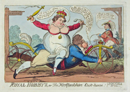 George Cruikshank, Royal Hobby's, or The Hertfordshire Cock=horse! 1819. Wilhelm Busch - Deutsches Museum für Karikatur und Zeichenkunst. © Wilhelm-Busch-Gesellschaft e.V.
