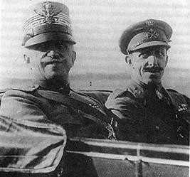 Der italienische König Vittorio Emanule III. und Alfons XIII., König von Spanien.