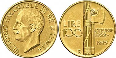 ITALY. Victor Emmanuel III, 1900-1946. 100 Lire 1923, Rome. From auction Gorny & Mosch 188 (2010), 4198.