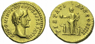 153: Antoninus Pius. Aureus, circa 159-160. RIC 302 note. Calicó 1600 (these dies). About extremely fine / good very fine. Starting bid: GBP 4,000.