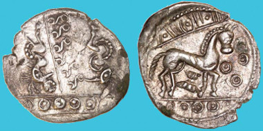 Vodenos Dragons silver unit, c.10 BC-AD 5. A new type, previously unrecorded. Picture: Chris Rudd.