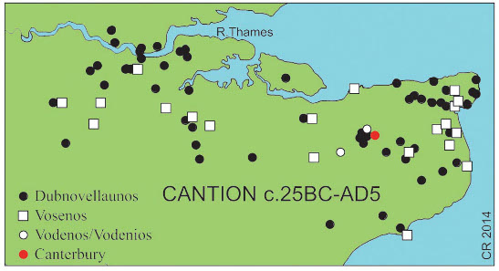 Vodenos Dragons coin was found near Canterbury. Recorded findspots of Vosenos coins (all gold) are scattered across north Kent with a cluster in east Kent, as are Cantian coins of Dubnovellaunos (all metals). Source: CCI.