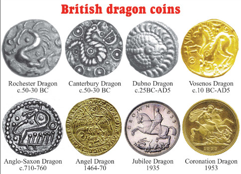 Dragons have been on British coins for over 2,000 years. Like the Lambton Worm and Loch Ness Monster, they are part of Britain's folklore. Source: CR, Italo Vecchi, Spink, Baldwins.