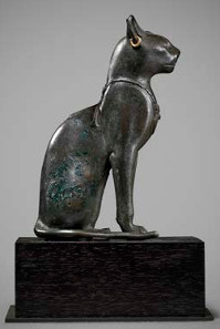 Egyptian bronze seated cat. Late Dynastic Period. 25th-31st Dynasty, 715-332 BC Height: 14.4 cm. Provenance: With Wilhelm Huber, Munich, Germany; Private collection Germany, c.1980 and thence by descent. Asking price: £140,000.