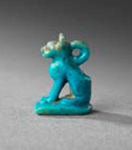 Egyptian faience amulet Late Dynastic Period 25th-31st Dynasty, 715-332 BC. Height: 1.3 cm. Provenance: Collection of Goddard and Ruth Dubois USA, acquired 1901-7 and thence by descent. Asking price: £1,200.