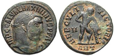 104: Maximinus II Daza. A.D. 309-313. Follis. Antioch mint, A.D. 313. RIC 170b. gVF. Estimate: $300.