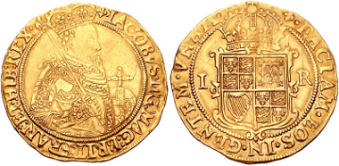 463: STUART. James I. 1603-1625. Unite. London mint; im: lis. Struck 1604-1605. From the D.F. Alder Collection. North 2083. Good Fine. Estimate $1500.