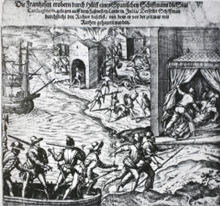 Plunder of Cartagena by the French in 1544. Source: Wikicommons.