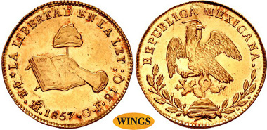 1912: MEXICO, Primera República. 1823-1863. AV 4 Escudos. Ciudad de México mint. Dated 1857/6 Mo GF. KM 381.6. Estimate $6,000.