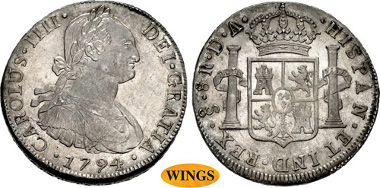 1329: CHILE, Colonial. Carlos IV. King of Spain, 1788-1808. AR 8 Reales. Santiago mint. Domingo Eizaguirre and Augustin de Infante y Prado, assayers. Dated 1794 So DA. KM 51. Estimate $5,000.