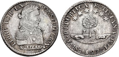 1171: BOLIVIA, Republic. 1825-present. AR Sol. Potosí mint. Juan Palomo y Sierra and Diego Miguel Lopez, assayer. Dated 1827 PTS JM. KM 94; C 52. Estimate $750.