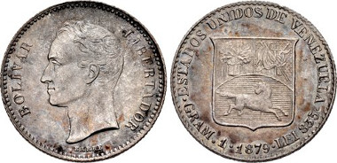 2178: VENEZUELA, Republic. 1830-present. AR 1/5 Bolivar. Brussels mint. Dated 1879. Crude letters. KM (Y) 19.1. Estimate $4,000.