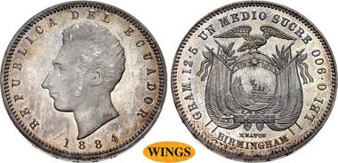 1661: ECUADOR, Republic. 1830-pres. Specimen AR 1/2 Sucre. Heaton (Birmingham) mint. Dated 1884. KM 52. Estimate $3,000.