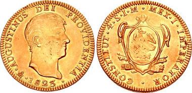 1892: MEXICO, Primera Imperio Mexicano. Agustín de Iturbide. 1822-1823. AV 4 Escudos. Ciudad de México mint. José Garcia Ansaldo and Joaquin Davila Madrid, assayers. Dated 1823 Mo JM. KM 312. Estimate $6,000.
