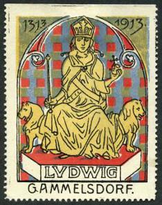 Ludwig der Bayer auf dem Löwenthron. Werbemarke, Farblithographie. Höhe 6,2cm x Breite 4,8 cm, 1913. Foto: © Haus der Bayerischen Geschichte, Augsburg.