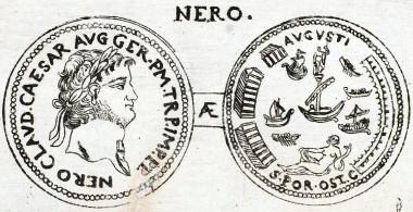 Daniel Moser, Sesterz des Nero (Württembergische Landesbibliothek Stuttgart, Signatur: Allg. G. oct. 3774).